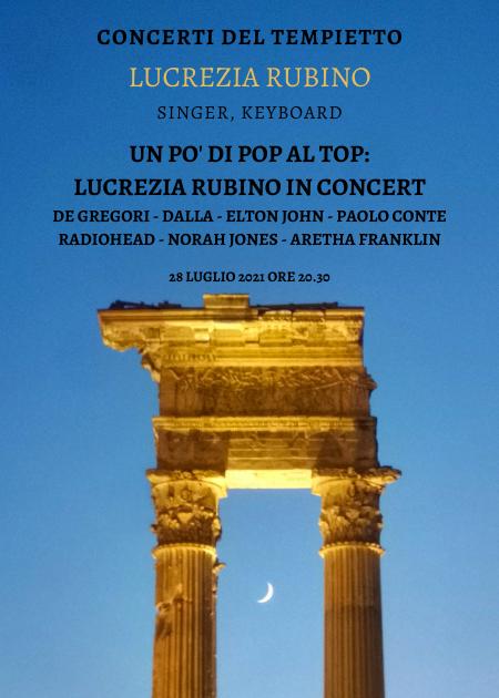 UN PO' DI POP AL TOP: LUCREZIA RUBINO IN CONCERT